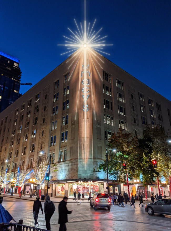 Seattle's Star at 300 Pine will benefit homeless charity Mary's Place this holiday season through interactive technology. Photograph courtesy of Western Neon.