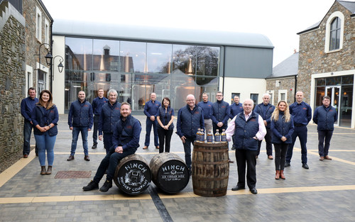 Hinch Distillery Chairman Dr Terry Cross OBE pictured with the team