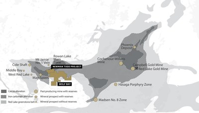 Figure 1 Location of the Newman Todd Project Property, owned 100%, and Wolf Bay, owned 50%, by Trillium Gold Mines (CNW Group/Trillium Gold Mines Inc.)