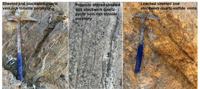 Figure 2. Mining operations exposed the top of the porphyry system. The copper-gold mineralization is hosted in a tonalite porphyry that was subjected to intense potassic alteration that is characterized by development of combination of quartz, secondary biotite, magnetite and K-felspar veins with pyrite, chalcopyrite and molybdenite. These veins are crosscut by late anhydrite veins. (CNW Group/SSR Mining Inc.)