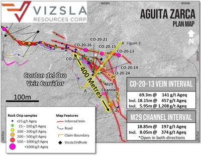 Figure 1: Plan view of the Aguita Zarca prospect with drill hole locations labelled, mapped geology and surface sampling locations (CNW Group/Vizsla Resources Corp.)