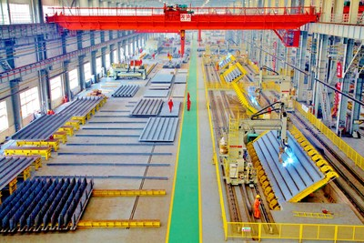 An automated production line at the China Railway Shanhaiguan Bridge Group Co. in Qinhuangdao, Hebei Province, north China