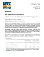 NGEx Minerals Reports Q3 2020 Results (CNW Group/NGEx Minerals Ltd.)