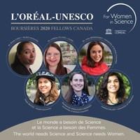 Les 6 récipiendaires des bourses canadiennes 2020 L'Oréal-UNESCO Pour les femmes et la science (Groupe CNW/L'Oréal Canada Inc.)
