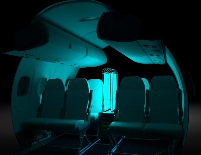 Ray *在Dash 8-400飞机机舱*由Aero Hygenx设计和制造的射线*是一种自治机器人,提供高频UVC灯,以消毒飞行之间的飞机舱。(加拿大的CNW集团/哈哈德和飞机)