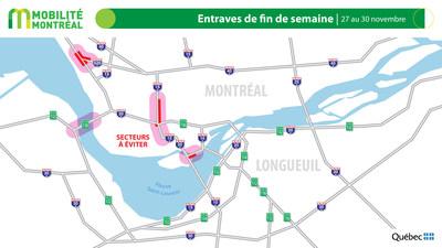 Carte générale des entraves, fin de semaine du 27 novembre (Groupe CNW/Ministère des Transports)