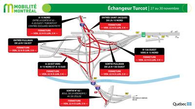Échangeur Turcot, fin de semaine du 27 novembre (Groupe CNW/Ministère des Transports)