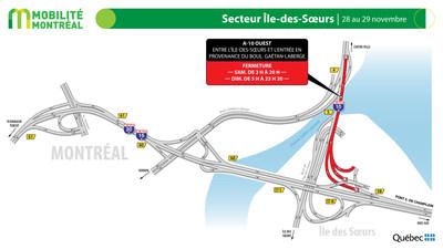 A10 Bonaventure secteur Île des Soeurs, fin de semaine du 27 novembre (Groupe CNW/Ministère des Transports)