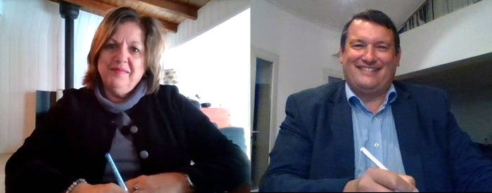 Sylvie Vachon, présidente-directrice générale de l'Administration portuaire de Montréal, et Hervé Martel, président du directoire du Port de Marseille Fos (Groupe CNW/Administration Portuaire de Montréal)
