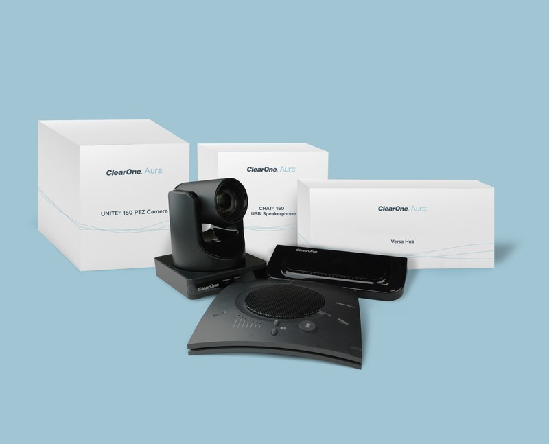 The Versa 150 Aura solution is a plug-and-play system including a UNITE® 150 12x optical zoom ePTZ camera and CHAT® 150 USB speakerphone.
