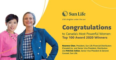 Sun Life is pleased to congratulate Rowena Chan, President, Sun Life Financial Distributors (Canada) Inc. & Senior Vice-President, Distribution and Patricia Callon, Senior Vice President & General Counsel, on being named among Canada's Top 100 Most Powerful Women by The Women's Executive Network. (CNW Group/Sun Life Financial Inc.)
