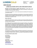 LUNDIN GOLD SHARE CAPITAL AND VOTING RIGHTS UPDATE (CNW Group/Lundin Gold Inc.)