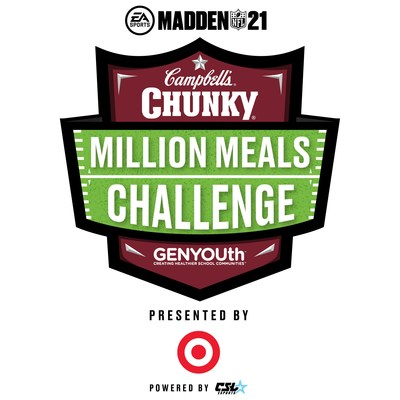 """GENYOUth and Campbell's® Chunky® announced today a dynamic esports initiative to help tackle hunger in schools. The Chunky Million Meals Challenge Madden NFL 21 presented by Target tournament will be played in EA SPORTS™ Madden NFL 21 and deliver 100 million meals to alleviate food insecurity among school-aged children during the COVID-19 pandemic. The Challenge will encourage the gaming community to """"game for good"""" and support GENYOUth and its partners in this important cause. Free registration starts today at www.millionmealchallenge.com."""