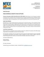 NGEx Minerals Grants Stock Options (CNW Group/NGEx Minerals Ltd.)