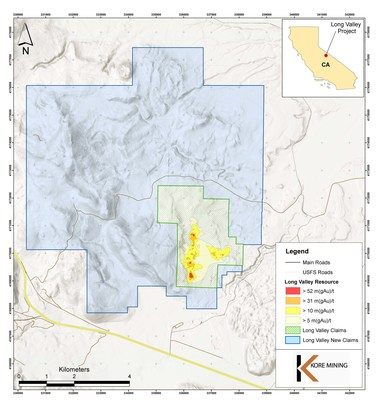 FIGURE 1: LONG VALLEY DISTRICT CLAIM MAP (CNW Group/Kore Mining)