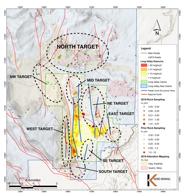 FIGURE 2: LONG VALLEY OXIDE EXPLORATION TARGETS (CNW Group/Kore Mining)