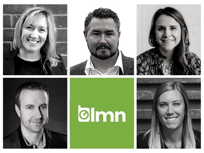 LMN, North America's B2B SaaS company for the landscape industry, announces new additions to its leadership team. This expansion of LMN's C-suite and executive team results from the technology company's exponential growth and future market expansions. (top left to right) Abbey Gilhula, Chief of Staff, Sarah Collins, Chief Marketing Officer, Mark Bradley, CEO & Co-founder, (bottom left to right) David Chalmers, Chief Revenue Officer, and Megan Macaulay, Vice President of Customer Experience.