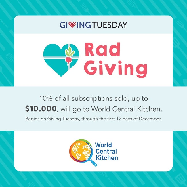 Beginning Giving Tuesday (December 1, 2020) and through the first 12 days of December, Raddish will donate 10% of each purchase made on Raddishkids.com (up to $10,000) to World Central Kitchen.