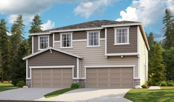 Exterior of the Ironwood and Marblewood paired homes at Seasons at Kemper Grove
