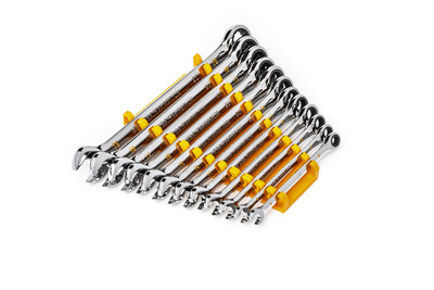 New GEARWRENCH 12-piece 90-Tooth 12 Point Metric Combination Ratcheting Wrench Set (86927).