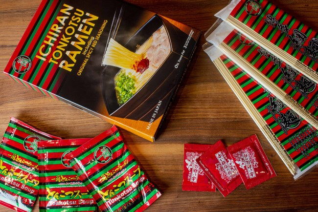 ICHIRAN's Take-Home Ramen Kit is a high-quality pantry item containing 3 servings each of dried noodles, soup concentrate, and Original Spicy Red Seasoning.