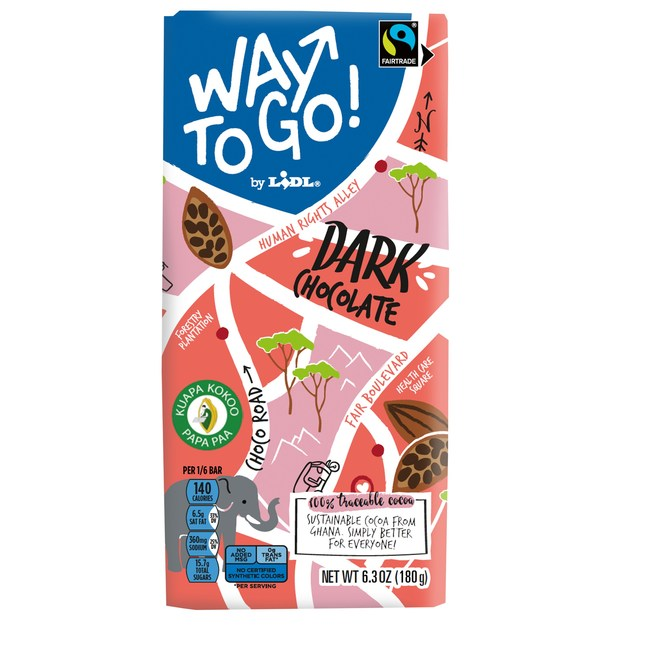 Made with 100% traceable and sustainable Fairtrade cocoa, Lidl's new Way To Go! milk and dark chocolate bars are the first and only private label chocolate bars that contribute to a living income for cocoa farmers.