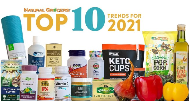 "Natural Grocers' Top 10 Nutrition Trends predictions are a composite of the most anticipated and unexpected health, nutrition, and food trends for the coming year.  The 2021 trends announcement, which includes getting back to the basics of health, immune-boosting strategies, The Climatarian and customized fitness nutrition, also offer ""try this trend"" tips for those who want to lean in to these trends in the coming months and beyond."