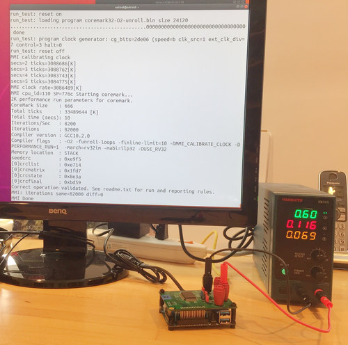 Micro Magic, Inc. RISC-V chip running at 3.08GHz consuming 0.69mW with a CoreMark score of 8,200.
