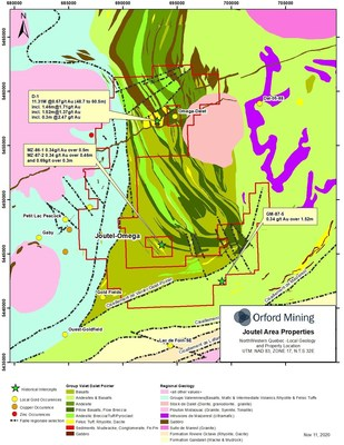 Figure 2: Local Geology of the New Joutel-Omega Property shown with historical drill hole intercepts.  Drilling intervals are down-hole lengths from historical data. True thicknesses cannot be estimated with available information (CNW Group/Orford Mining Corporation)
