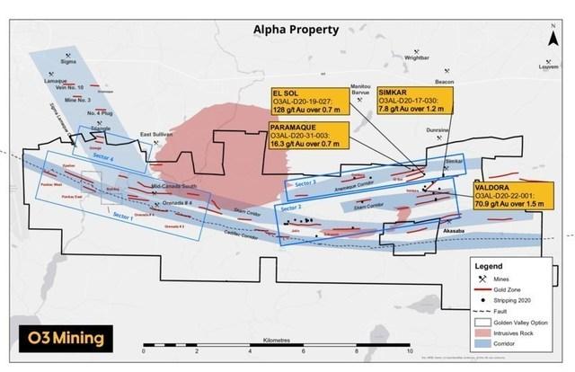 Figure 1: Alpha Property Map – Highlights Channel Sampling Program (CNW Group/O3 Mining Inc.)