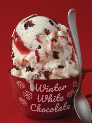 Swirled with a rich cherry ribbon and bursting with bits of sweet cherry dipped in a chocolate flavored coating with a white chocolate flavored ice cream, Baskin-Robbins' December Flavor of the Month, Winter White Chocolate®, is sure to be on everyone's list.