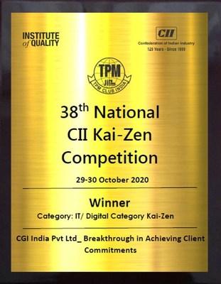 CII Kaizen Competition Award Trophy (PRNewsfoto/CGI)