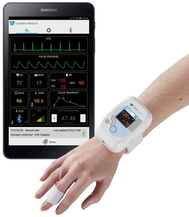 "Caretaker Wireless Patient Monitor for Continuous ""Beat by Beat"" Blood Pressure and Vital Signs for Safely Distanced Remote Patient Monitoring"