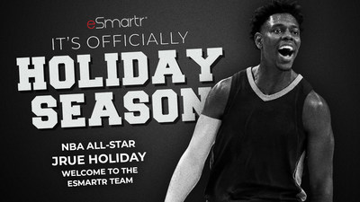 """Professional basketball player and NBA All-Star Jrue Holiday becomes a brand ambassador for eSmartr, a wearable tech company whose technology naturally improves focus and reduce stress levels by wearing a """"smart"""" compression sleeve. (CNW Group/eSmartr)"""
