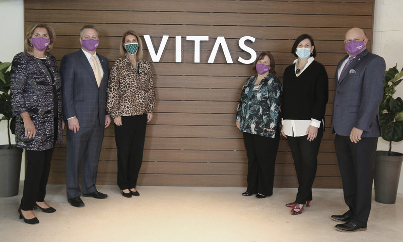 VITAS Healthcare and Baptist Health South Florida leaders: Betty Bel and Nick Westfall from VITAS; Alexandra Villoch, CEO of Baptist Foundation; Patty Husted of VITAS; Patricia Rosello, CEO of Baptist Hospital of Miami; and Joel Wherley of VITAS.