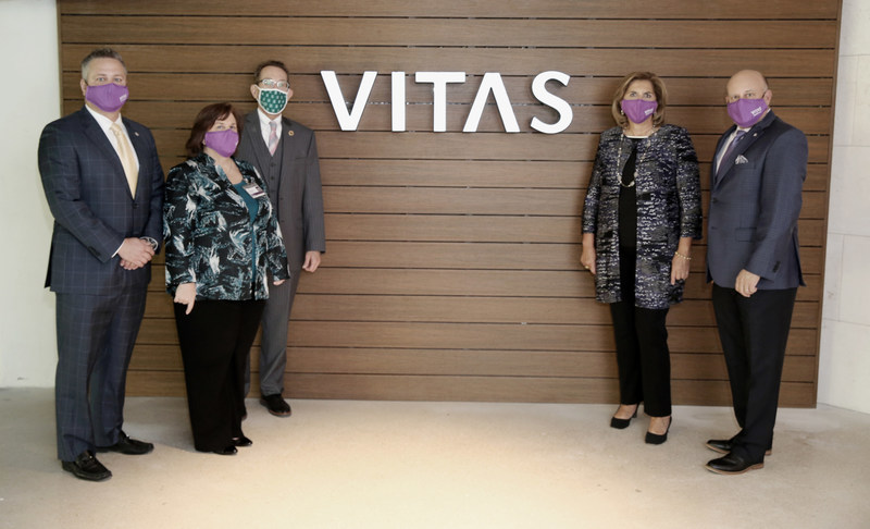 Nick Westfall and Patty Husted from VITAS; Bill Duquette, CEO of South Miami Hospital; Betty Bel and Joel Wherley of VITAS