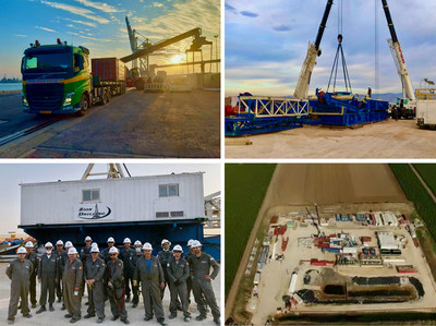 Zion rig and equipment loaded onto trucks at Haifa port on November 23 (top left), Zion rig being assembled on pad site on November 24 (top right), Zion Drilling crew on December 2 (bottom left), Zion drill site location with equipment on December 2 (bottom right)