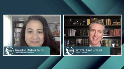 Governor Gavin Newsom and Jacqueline Martinez Garcel, CEO of the Latino Community Foundation discuss the state's economic recovery during the virtual 2020 California Economic Summit on Dec. 4.