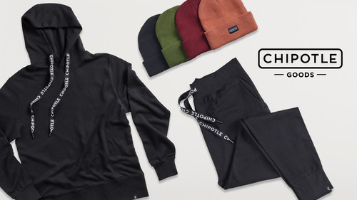 Chipotle's new Holiday Goods collection includes comfy and trendy loungewear featuring minimalist Chipotle branding and made with organic cotton.