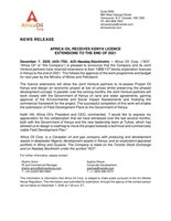 Africa Oil Receives Kenya Licence Extensions to the End of 2021 (CNW Group/Africa Oil Corp.)