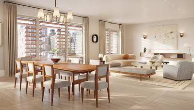 Designed by ELLE Decor A-List Designer Alyssa Kapito Interiors and BKSK Architects, Charlotte of the Upper West Side's interiors offer one-of-a-kind full-floor homes characterized by high quality craftmanship and next-generation engineering, with a balance between luxury, wellness, and sustainability. (Rendering credit: Depict)