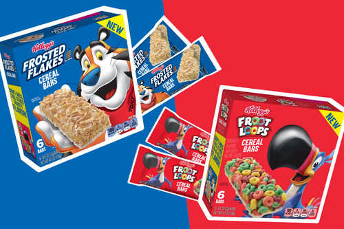 New Kellogg's Froot Loops® and Kellogg's Frosted Flakes® Cereal Bars feature cereal classics, now in a convenient hand-held form, perfectly packaged for on-the-go snacking throughout the day. (Photo Credit: Kellogg Company)