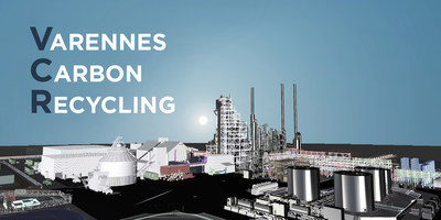Varennes Carbon Recycling (VCR) will produce biofuels and renewable chemicals made from non-recyclable residual materials as well as wood waste. The plant will leverage green hydrogen and oxygen produced through electrolysis, transforming Quebec's excess hydroelectricity capacity into value-added biofuels and renewable chemicals. (CNW Group/Enerkem Inc.)