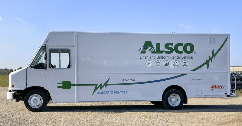 Alsco's zero-emission step vans are built on Motiv's EPIC F-59 Ford eQVM-approved chassis with Utilimaster bodies.