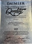 Axalta receives 2019 Masters of Quality supplier award from Daimler Truck