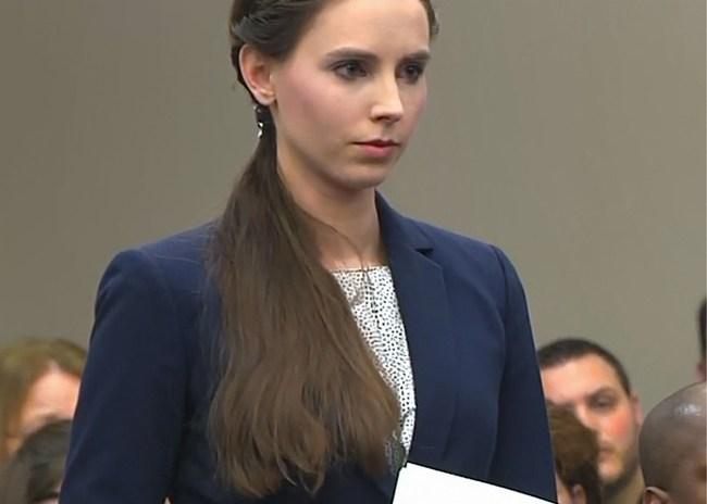 Rachael Denhollander testifying at Larry Nassar's criminal trial
