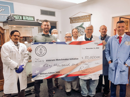 Vortic co-founder, R.T. Custer, presented a $50,000 donation to Sam Cannan, co-founder of the Veterans Watchmakers Initiative, and the students on Veterans Day 2020.