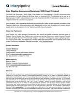Inter Pipeline Announces December 2020 Cash Dividend (CNW Group/Inter Pipeline Ltd.)