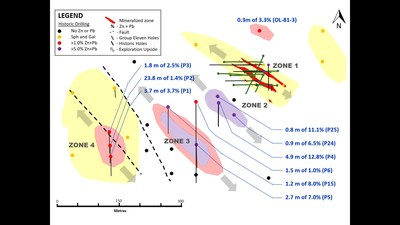 Exhibit 9. Plan Map of Zones 1, 2, 3 and 4 at Carrickittle Prospect, PG West Project, Ireland (CNW Group/Group Eleven Resources Corp.)