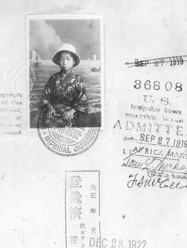 Midori's passport used to travel across the Pacific alone